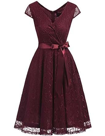 DRESSTELLS Short V Neck Bridesmaid Ruched Dress Lace Cocktail Dresses With Belt Burgundy S
