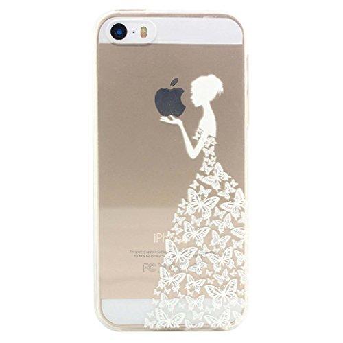 ZXLZKQ Coque pour iPhone 5C Etui Transparent Blanc Sexy Fille Fleur Papillon Soft TPU Case Silicone Housse Coque pour Apple iPhone 5C (non applicable iPhone 5S)