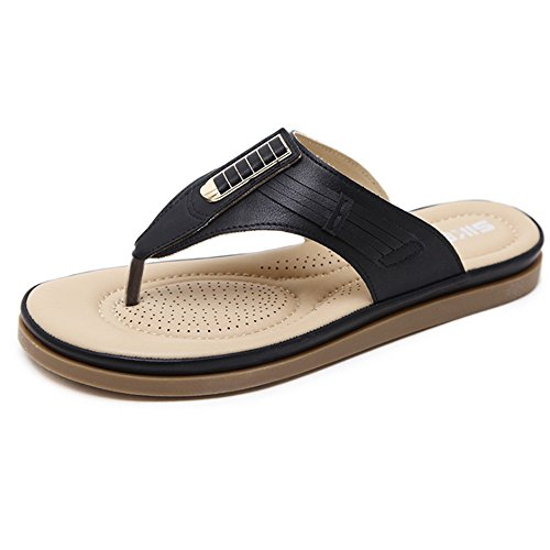De Zapatillas Negro Planas Playa Verano Gran Tamaño Comfort Playa Zapatillas Slipper De De Ladies De Metal 8q8BwAr