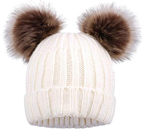 ARCTIC Paw Women Knit Beanie Cable Knit Beanie Hat Faux Fur Pompom Ears White