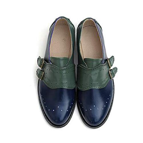 Women's Fashion Perforated Buckle Two Tone Flat Oxfords Brogue Wingtip Slip-on Round Toe Shoes Blue and Green