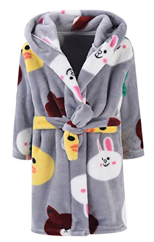 ZDUND Kids Bathrobes for Girls Boys,Baby Toddler Robe Hooded Flannel Bathrobe Pajamas Sleepwear for Girls Boys Bear 2T