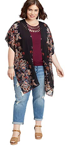 (Maurices Women's Plus Size Placement Print Paisley Kimono 0/1 Black Combo)