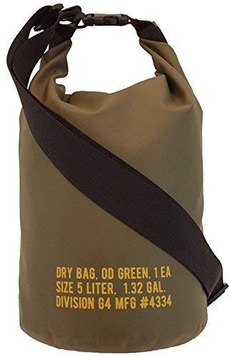 Division G4 Floating Waterproof Dry Bag Sack 2L/5L/10L Keep Gear Dry For Hunting, Fishing, Outdoors, Operations, Olive Drab Green With Military-Style Lettering (2L)