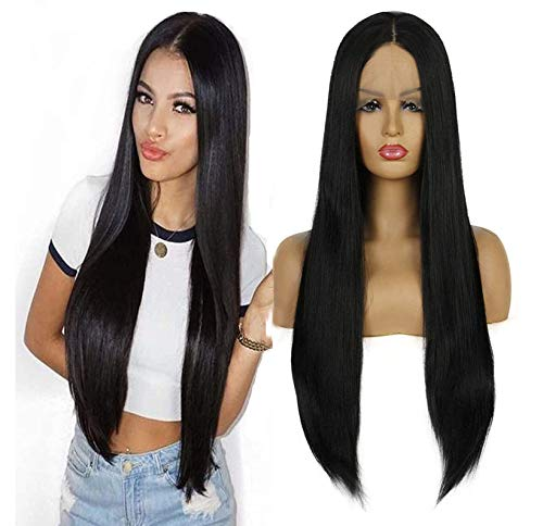 Life Diaries 20% Human Hair+80% Synthetic Fiber Silk Top Lace Front Synthetic Wig Nature Yaki Straight Half Hand Tied Wigs Nature Black Color Heat Resistant Fibers For Women 24Inch
