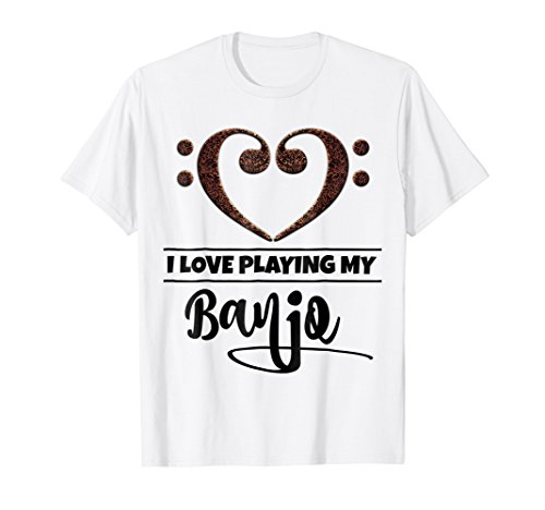 Double Bass Clef Heart I Love Playing My Banjo T-Shirt