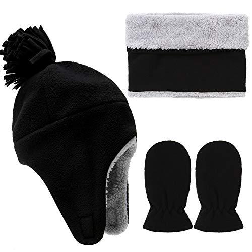(Aneco Toddler Baby Winter Set Totally Micro Fleece Pilot Hat Mitten Scarf Set)