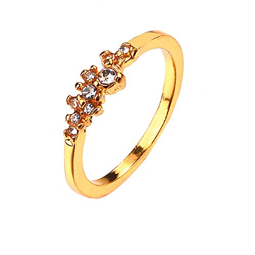 FEDULK Women's Light Luxury Rings Bride Engagement Wedding Birthday Perfect Gifts Promise Ladies Rings(Gold, 10)