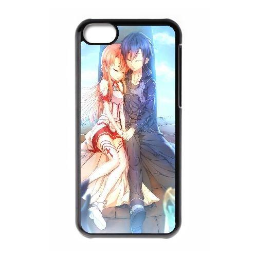 Asuna And Kirito Sword Art Online coque iPhone 5C Housse téléphone Noir de couverture de cas coque EBDOBCKCO14715