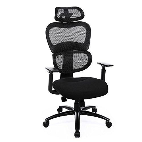 SONGMICS Ergonomic Lumbar Support Office Chair High Back Adjustable Swivel Mesh Chair Black (Back Adjustable Office Chair)