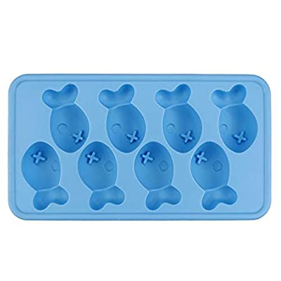 Fish Shapes Flexible 8 Ice Cube Tray Mold Rubber Novelty Gift