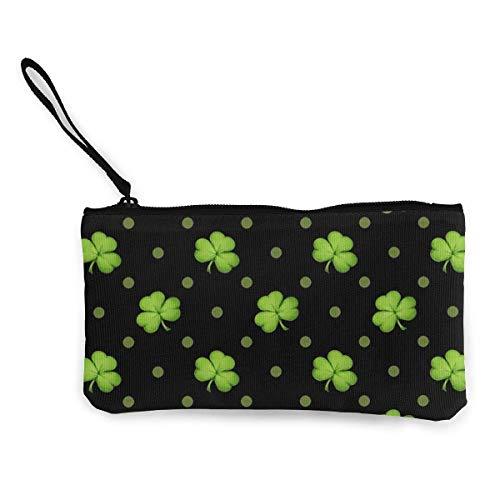 St. Patrick's Day Lucky Shamrocks Black Coin Purse Travel Makeup Pencil Pen Case With Handle Cash Canvas Zipper Pouch 4.7