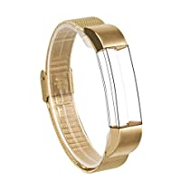For Fitbit Alta Bands, Wearlizer Mesh Smart Watch Replacement Strap Wristband for Fitbit Alta - Gold