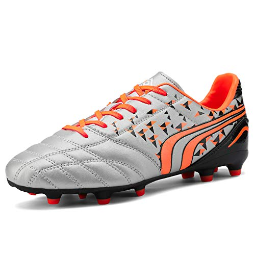 DREAM PAIRS Men's 160860-M Grey Orange Black Cleats Football Soccer Shoes - 9 M US (Best Cleats For Ultimate Frisbee)