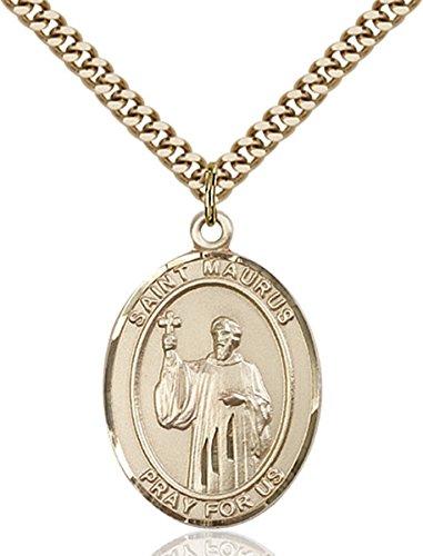 14K Gold Filled Catholic Saint Maurus Medal, 1 Inch