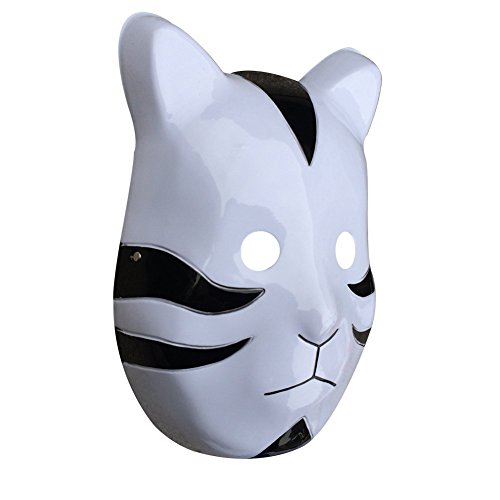 YangYong Cosplay Japanese Cat Mask, Plastic Comic and Anime Ninja Costume Masks (Medium-Full Face, A) Black ()