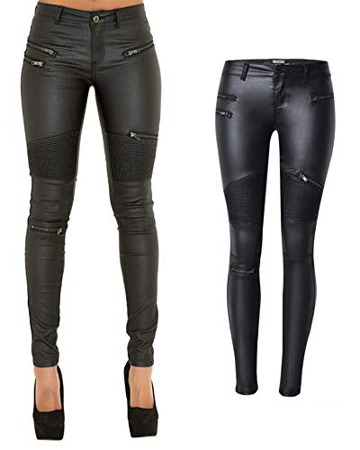 PU Leather Pants for Women Sexy Tight Stretchy Rider Leggings Black US 2-4