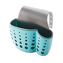 Kitchen Bathroom Hanging Basket Storage Thicker Double Sink Pouch Plastic Drain Sponge Holder Gadget Organizer Racks (Blue-grey)