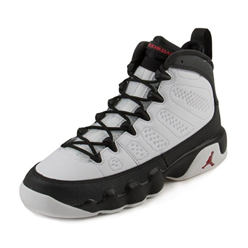 Nike Boys Air Jordan 9 Retro BG ''Playoff'' White/True Red-Black Leather Size 6.5Y by Jordan