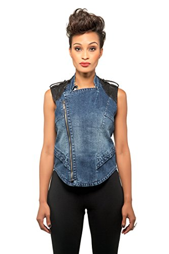 Poetic Justice Curvy Women's Blue Stretch Denim Vegan Leather Detail Moto Vest Size -