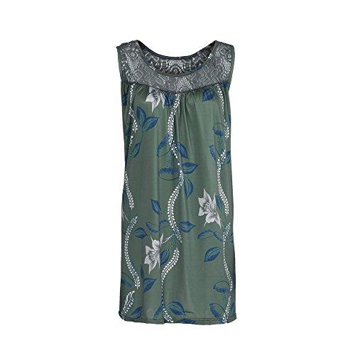(Women Dress Summer Casual O-Neck Print Loose Sleeveless Party Lace Mini)