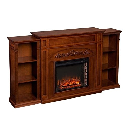 Southern Enterprises Chantilly Electric Fireplace with Bookcase, Autumn Oak Finish (Best Finish For Oak Mantel)