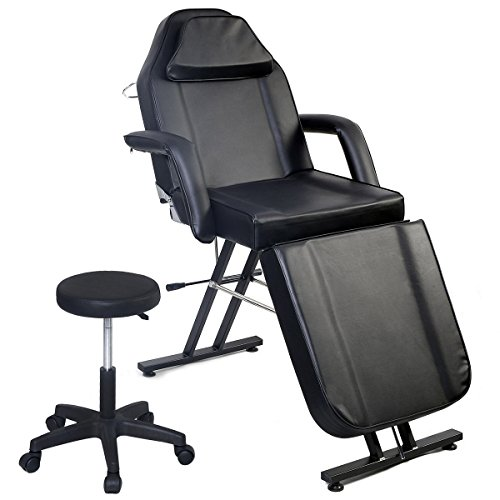 Giantex Black Massage Facial Table Bed Chair Adjustable Barber Beauty Salon Equipment
