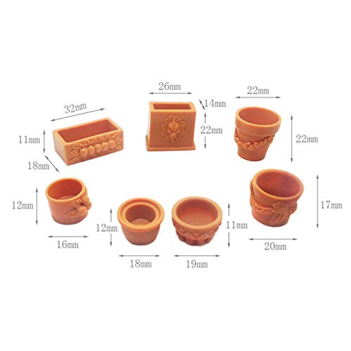 (Brosco 7Pcs/Set 1:12 Miniature Resin Landscape Flower Pot Dollhouse Fairy Garden Decor)