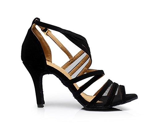 Minishion Qj7036 Femmes Mode Strappy Daim Salle De Bal Latin Tango Chaussures De Danse Noir