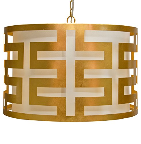 Athena Hollywood Regency Gold 3 Light Pendant Chandelier
