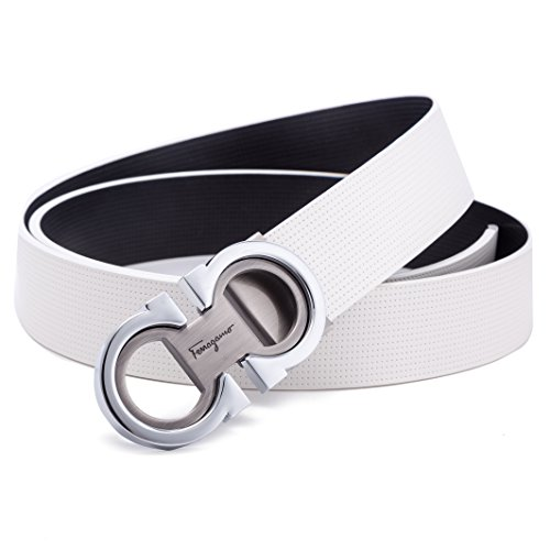 Men's Fashion Comfort Leather Reversible Belt Adjustable Buckle, by Trim to Fit (White-Silver, Wasit Size ()