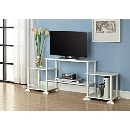 huge discount a7c9f 78a9f New TV Stand Entertainment Center Media Console, White + Free 2 Pack  Organizer Storage Bins