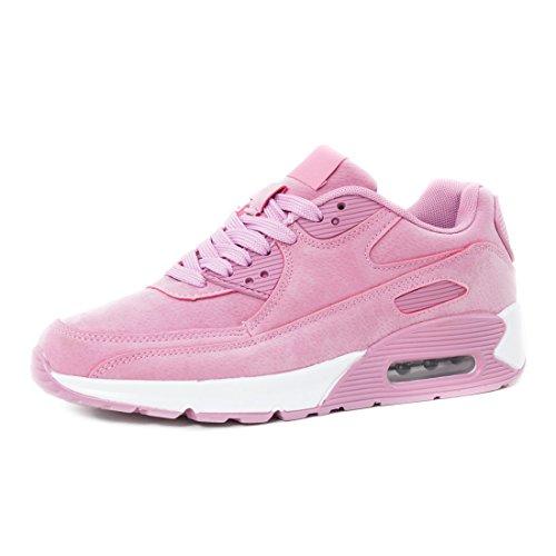 Sport Turnschuhe Herren Velouroptik Trendige Sneaker Schnür Damen Marimo Fitness Laufschuhe Unisex Pink Kinder Weiß R8xw44Cq