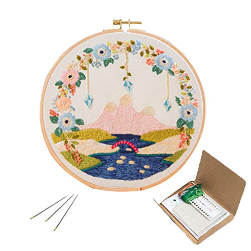 Colourful Embroidery Kit, Cross Stitch Kit Including Embroidery Cloth with Floral Pattern, Bamboo Hoop, Color Threads and Starter Tools Kit