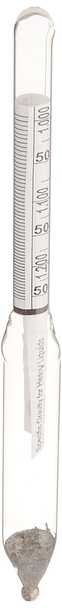 Chase Instruments 1991 Heavy Liquid Specific Gravity Hydrometer, 1.000-1.200mm Graduation Range, 0.002mm Interval