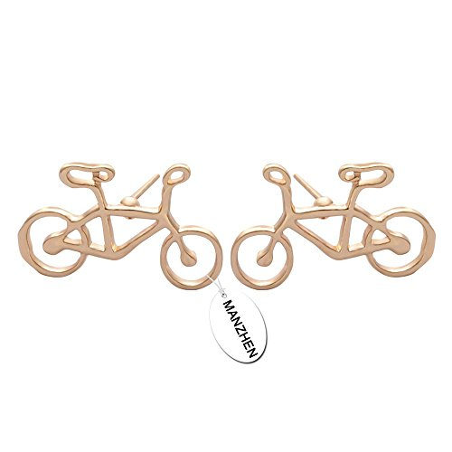 MANZHEN New Fashion 3 Colors Bicycle Mountain Bike Stud Earrings Simple Jewelry for Women (Gold)