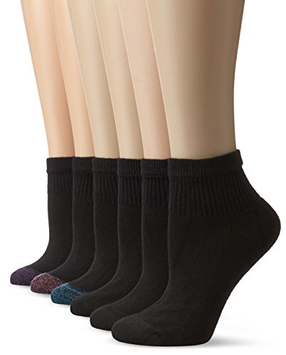 Hanes Women's Cushioned Athletic Ankle, Black 6 Pack, Sock Size: 9-11, Shoe Size: 5-9