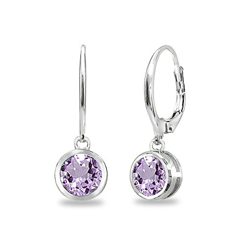 (Sterling Silver Amethyst 6mm Round Bezel-Set Dangle Leverback Earrings)