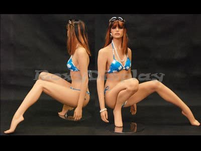 squattting pose with arms straight down ROXYDISPLAY/™ Female mannequin MD-FR7 left leg extended out slightly to the left. head slightly turned to the right
