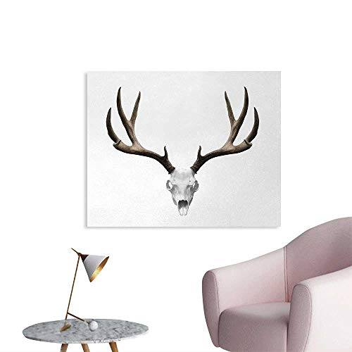 Tudouhoho Antlers Funny Poster A Deer Skull Skeleton Head Bone Halloween Weathered Hunter Collection Photographic Wallpaper Warm Taupe Light Grey W36 xL32