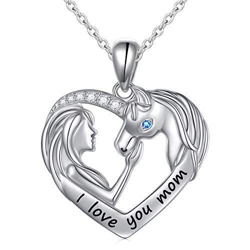 Mom Gift Sterling Silver I Love You Mom Horse Pendant Necklace for Mother's Day Birthday Gift