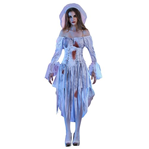 ELINKMALL 2pcs Halloween Zombie Cosplay Party Costume Corpse Dress Bride With (Corpse Bride Halloween Costume Cheap)