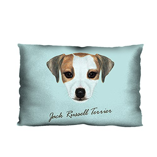 Jack Russell Terrier Dog Pillowcase Baby Wool Fabric, 20 x 30 Inches Two Sides Print, Custom Cute Puppy Dog Pillow Case Cover (Jack Russell Terrier Prints)