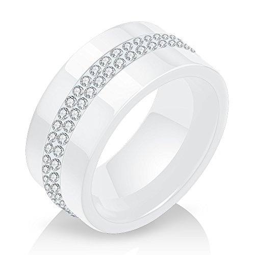 (VQYSKO Two-tones Personality Style 2 rows lines Clear Crystal Black White Ceramic Ring (W7))