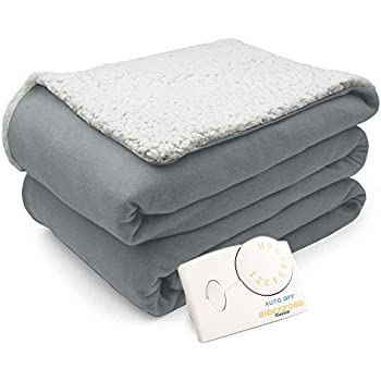 Pure Warmth Comfort Knit Natural Sherpa Electric Heated Blanket Twin Gray