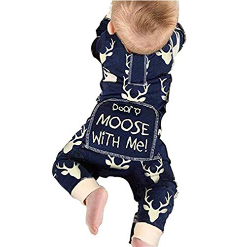 Newborn Baby Girls Boys Don't Moose with Me Letter Print Romper Jumpsuits One-Piece Outfits,Navy (3-6 Months, Navy)