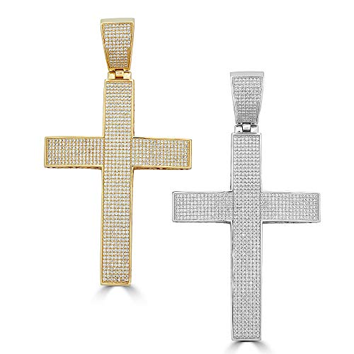 - Harlembling Solid 925 Sterling Silver Iced Out Cross Pendant - Men's - Large 2x4 44 Grams - Fits Up to 14mm Chains! (Silver (Unplated))