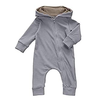 Xifamniy Infant Unisex Baby Autumn Romper Cotton Sika Deer Shape Hooded Jumpsuit Gray