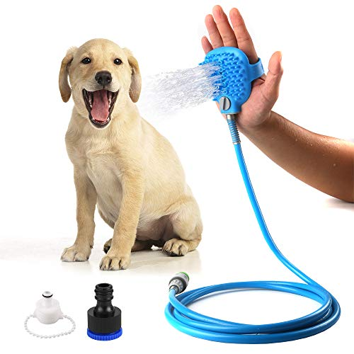 ASANMU Pet Bathing Tool, Pet Shower Sprayer for Dog Cat Bathing Massage Combo with Pet Grooming Glove and 2 Faucet Adapters, Indoor/Outdoor Garden Use 8.2 ft Hose Blue by ASANMU