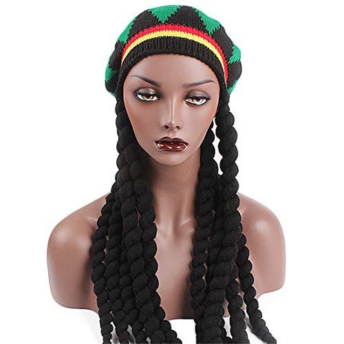 Qhome Rasta Hat Reggae Cap Jamaican Beanie Hippie Dreadlocks Tam Knitted Stretchy -